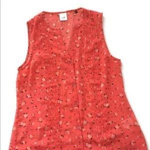 Cabi Sleeveless Top Sheer Pink Print